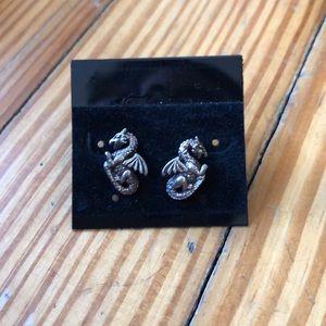 Jewelry - Silver Dragon studs, post back earrings